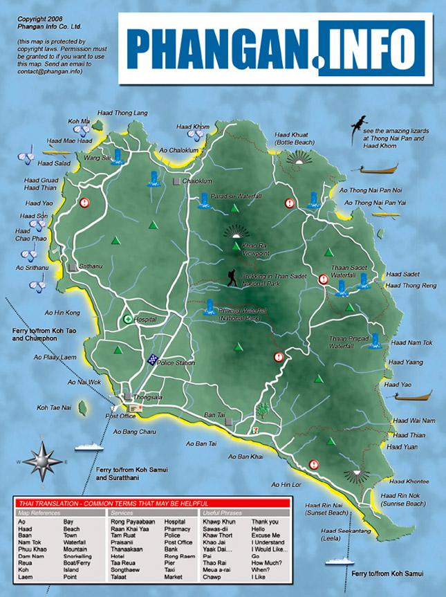 map of great beaches in koh phangan